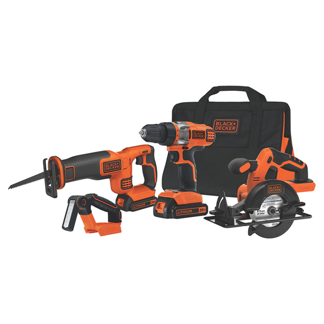 Magnesium Cordless 4 Tools Set Orange and Black