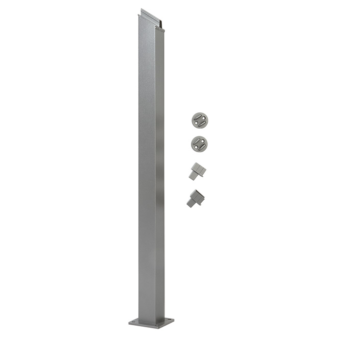 Stair Railing Post - 4'' x 38'' - Aluminum - Titanium Grey