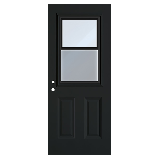 Hung Window Exterior Steel Door Black 34 X 80 Right R No D P T