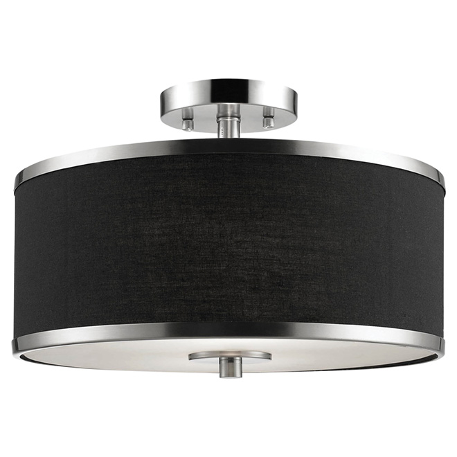"Medford Semi Flush-Mount Ceiling Light-15"" - Black/Nickel"