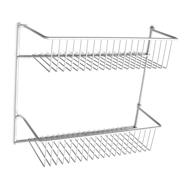 Metal Wall Rack - 2 Tiers - White