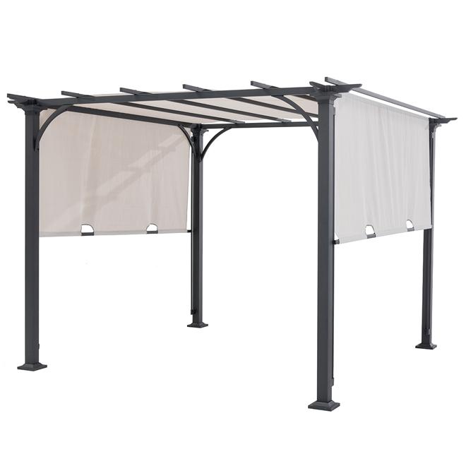 pergola en acier avec toit en tissu noir et beige r no d p t. Black Bedroom Furniture Sets. Home Design Ideas