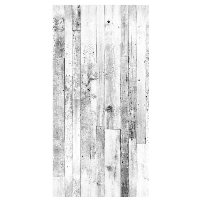 Mur design rev tement mural imitation bois de grange 48 x 96 blanc r no d p t Design panneaux deco en lamelles de bois