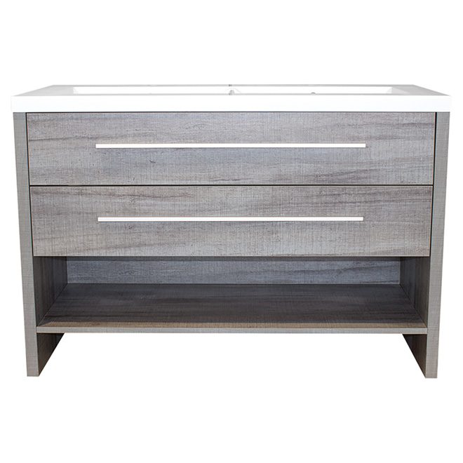 Luxo Marbre Double Sink Vanity 2 Drawers 1 Shelf 48 1 2 Blue Grey R No D P T