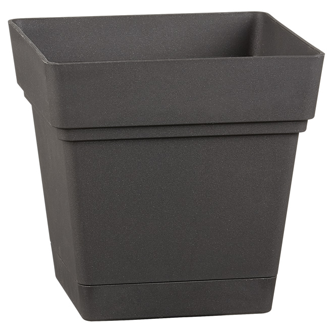 "Square Planter Pot with Saucer - 7"" - Black"
