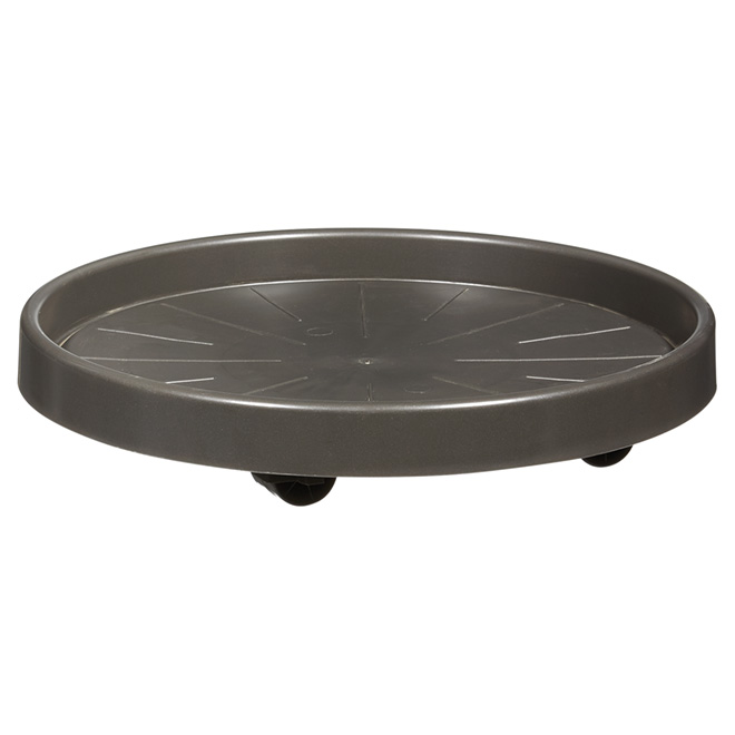 "Plant Pot Saucer with Wheels - 13.7"" - Anthracite"