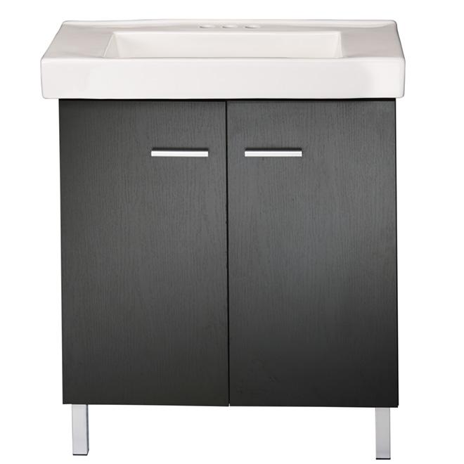 Facto meuble lavabo 2 portes marsala noir r no d p t for Meuble rabais