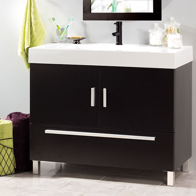 Foremost meuble lavabo sutton 2 portes et 1 tiroir expresso r no d p t for Hauteur vanite salle de bain 2