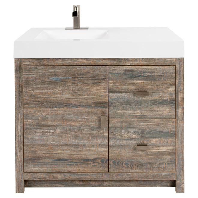 Foremost meuble lavabo sagona 1 porte 2 tiroirs 36 for Meuble lavabo liquidation