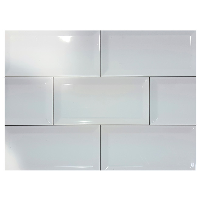Tuiles de c ramique 4 po x 8 po blanc lustr r no d p t for Ceramique murale blanche